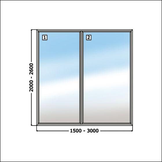 Glaswand overkapping RECHT